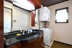 洗面台と洗濯機の様子。(2016-10-12,共用部,OTHER,1F)