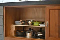 キッチン下には鍋類が保管されています。(2017-07-12,共用部,KITCHEN,1F)
