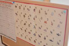 謎の言語表。(2015-09-02,共用部,LIVINGROOM,1F)