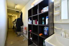 洗剤などを置くことができる棚が設置されています。廊下の奥は物干しスペースです。(2020-06-27,共用部,OTHER,4F)