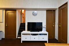 共用TVの様子。TV左の階段をあがると秘密の小部屋があります。(2017-12-11,共用部,TV,2F)