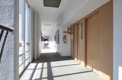 マンションのエレベーターと外廊下の様子。(2011-08-08,共用部,OTHER,2F)