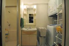 脱衣室には洗面台と洗濯機&乾燥機が設置されています。(アジアンスタイル)(2013-09-10,共用部,BATH,7F)