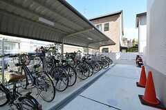 自転車置場の様子。原付も置くことができます。(2014-09-28,共用部,GARAGE,1F)