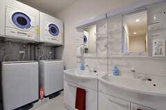 洗面台の様子。洗濯機と乾燥機は無料で使用できます。(2016-11-14,共用部,OTHER,1F)