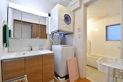 脱衣室の様子。洗面台と洗濯機と乾燥機が設置されています。(2016-11-14,共用部,BATH,3F)