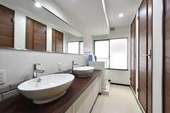 廊下から見た洗面台の様子。洗面台の対面がシャワールームです。(2016-07-20,共用部,OTHER,2F)
