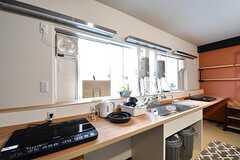 4F専用キッチンの様子2。シンクが1台、IHクッキングヒーターが2台設置されています(2017-03-29,共用部,KITCHEN,3F)