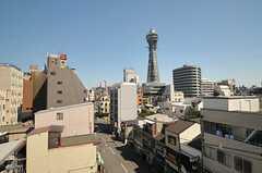屋上からは通天閣が見られます。(2013-09-19,共用部,OTHER,4F)