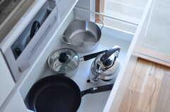 引き出しには鍋類が収納されています。(2014-08-05,共用部,KITCHEN,1F)