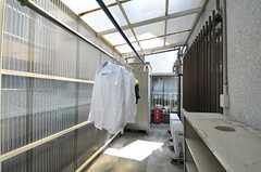 物干し場の様子。雨が当たらないように屋根が付いています。(2011-04-10,共用部,LAUNDRY,1F)