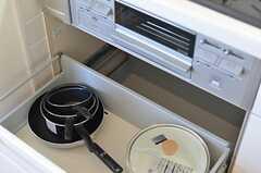 コンロ下には鍋類が置かれています。(2013-04-08,共用部,KITCHEN,1F)