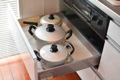 鍋類はコンロ下に収納されています。(2020-03-17,共用部,KITCHEN,2F)