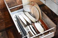 IHクッキングヒーターの下には、共用の食器が収納されています。取り出しやすいように工夫してあるとのこと。(2017-01-11,共用部,KITCHEN,1F)