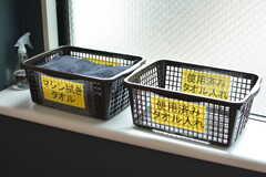 使い終わったらタオルで器具を吹くルール。カゴに入れておくと洗濯してもらえます。(2021-07-07,共用部,OTHER,1F)