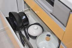 IHクッキングヒーターの下は共用の鍋やフライパンが収納されています。(B棟)(2016-10-03,共用部,KITCHEN,1F)
