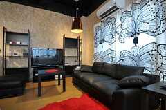 シェアハウスのリビングの様子3。TVはスカパー対応です。(2011-03-22,共用部,LIVINGROOM,1F)