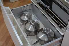 鍋類はヒーターの下に収納されています。(2015-10-13,共用部,KITCHEN,1F)