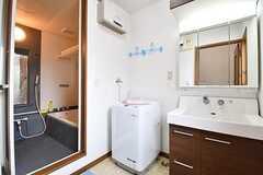 脱衣室の様子。洗濯機と洗面台が並んでいます。(2016-11-15,共用部,BATH,2F)
