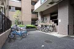 自転車置き場の様子。(2012-09-19,共用部,GARAGE,1F)