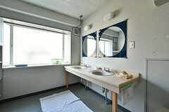 脱衣室に設置された洗面台の様子。(2018-04-13,共用部,WASHSTAND,1F)