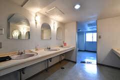 洗面台の様子。奥がトイレです。(2018-04-13,共用部,WASHSTAND,1F)