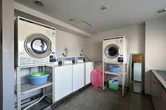 ランドリースペースの様子。洗濯機と乾燥機の利用はコイン式です。(2018-04-13,共用部,LAUNDRY,2F)