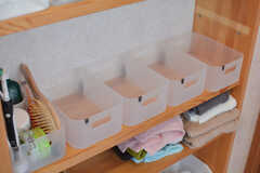 シャンプー類を置いておけるカゴの様子。(2020-02-10,共用部,BATH,1F)