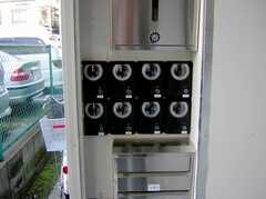 専用インターフォンが各部屋に付いているので、玄関前はこんな状態に。この怖さだけでも防犯効果が出そう。(2007-03-01,周辺環境,ENTRANCE,1F)