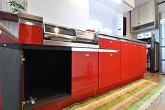 キッチン台の下は、専有部ごとに使えるスペースが決まっています。(2016-11-17,共用部,KITCHEN,1F)