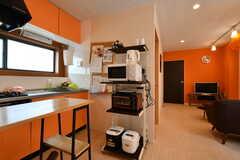電子レンジ、トースター、炊飯器の様子。(2018-05-25,共用部,KITCHEN,1F)