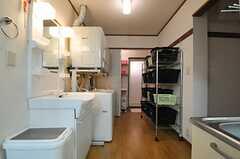 キッチン側から見た洗面台と洗濯機の様子。奥にバスルームがあります。(2012-10-16,共用部,OTHER,1F)