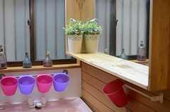 洗面台に面した壁に、鏡が設けられています。(2013-03-29,共用部,OTHER,1F)