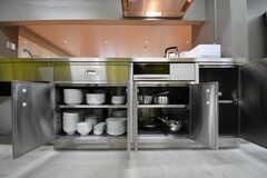 キッチンの下は共用の食器やフライパンが収納されています。(2017-09-12,共用部,KITCHEN,1F)