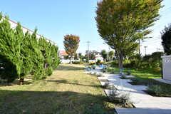 庭の様子。庭は大学寮の入居者さんも利用をするとのこと。(2017-11-10,共用部,OTHER,1F)