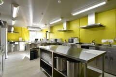 キッチンの様子。シンクとIHクッキングヒーターが4台ずつ設置されています。(2017-11-10,共用部,OTHER,1F)