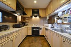 キッチンの様子。左手と正面にガスコンロ、右手にシンクが設置されています。(2016-03-14,共用部,KITCHEN,3F)