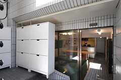 正面玄関から見た内部の様子。左手に靴箱、3段ほど下ってラウンジです。(2013-03-11,周辺環境,ENTRANCE,1F)