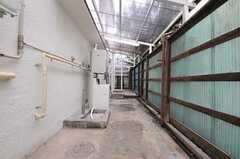 勝手口から見たランドリースペースの様子。(2012-03-06,共用部,LAUNDRY,1F)