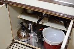 鍋類や調理グッズはシンク下に収納されています。(2017-11-08,共用部,KITCHEN,1F)