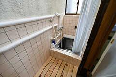バスルームの様子。脱衣スペースはシャワーカーテンを仕切って使います。(2017-11-08,共用部,BATH,1F)