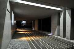 マンションのアプローチは、夜はライトアップされます。(2013-12-15,周辺環境,ENTRANCE,1F)