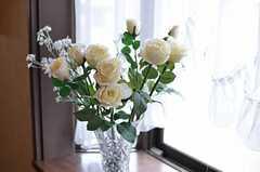 窓際に飾られた花。(2014-04-03,共用部,OTHER,2F)
