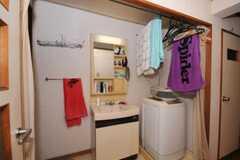 廊下に設置された洗面台と洗濯機の様子。(307号室)(2010-05-13,共用部,LAUNDRY,3F)