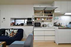 シンク脇は食器棚です。電子レンジ、トースター、炊飯器が設置されています。(2018-03-23,共用部,KITCHEN,1F)