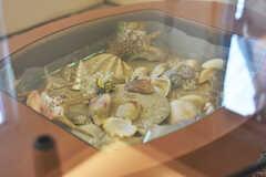 オーナーさんは沖縄好き。テーブルには貝殻やシーサーが飾られています。(2017-12-13,共用部,LIVINGROOM,2F)
