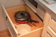 鍋類は引き出しに収納されています。(2017-02-16,共用部,KITCHEN,3F)
