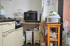 キッチン家電の様子。電子レンジの下にゴミ箱が置かれています。(302号室)(2012-06-26,共用部,KITCHEN,3F)