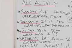 英会話アクティビティのスケジュール。(2010-04-30,共用部,LIVINGROOM,2F)