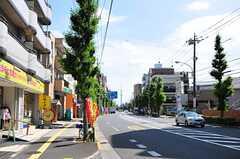 各線・綾瀬駅からシェアハウスへ向かう道の様子。通りの向こうにスカイツリーが見えます。(2012-06-18,共用部,ENVIRONMENT,1F)